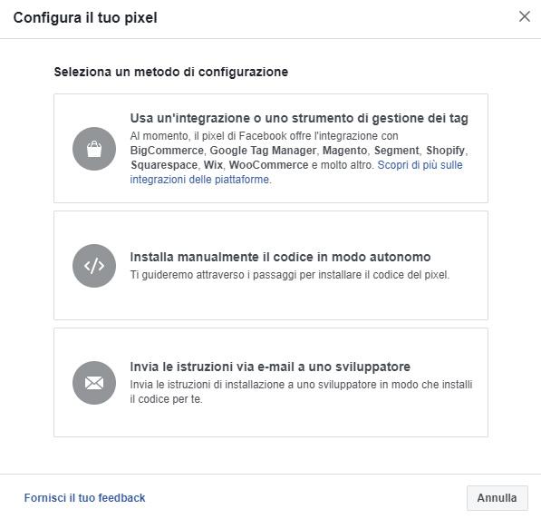 Installazione Facebook Pixel